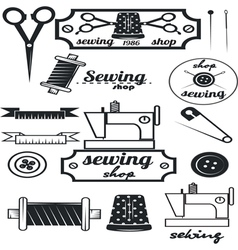 Set of vintage tailor labelssewing workshop vector