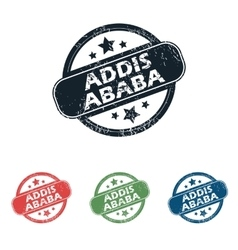 Round addis ababa stamp set vector