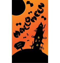 Halloween poster with mystery house bats and moon vector image