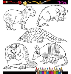 Animals set cartoon coloring book vector