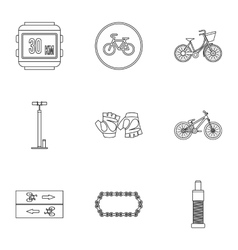 Bicycle parts icons set outline style vector