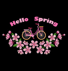 Bike and cherry blossom embroidery pattern vector