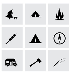 black camping icon set vector image vector image