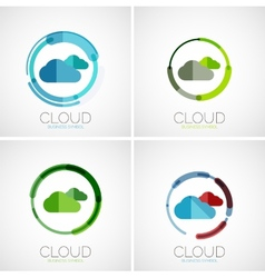 Cloud storage logotype set flat design vector image