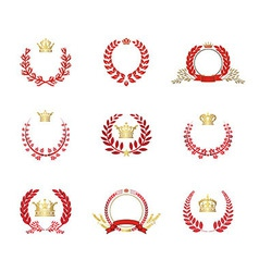 Crown and laurel wreaths set red vector