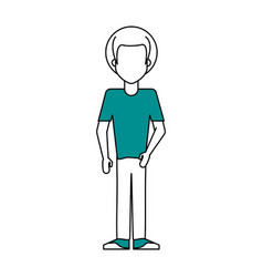 Faceless man wearing t shirt icon image vector