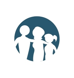 Family silhouette emblem icon vector