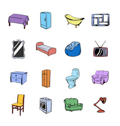 Furniture icons set cartoon vector