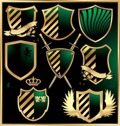 gold and green shields set vector image
