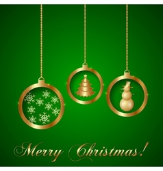 Gold Decorative Christmas Greeting Card vector image vector image