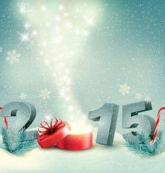 Holiday background with a gift box and 2015 vector image vector image