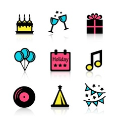 Holidays icons set vector