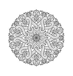 Linear mandala monochrome circular pattern for vector