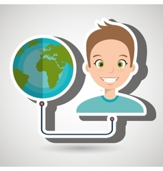 Man with planet isolated icon design vector