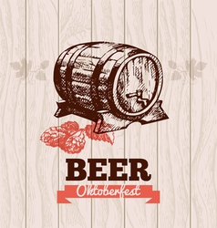 Oktoberfest vintage background Beer hand drawn Me vector image