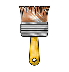 Paint brush icon in colored crayon silhouette vector
