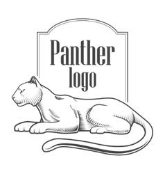 Panther logo engraving style emblem vector