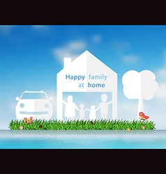 Paper cut of happy family with home vector image vector image