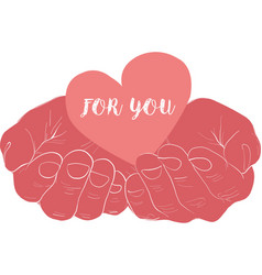 pink hand holding heart vector image