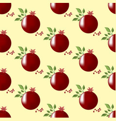 Pomegranate fruit seamless pattern vector