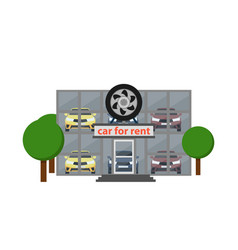 Rental business icon with car showroom vector