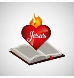 sacred heart jesus on bible design vector image