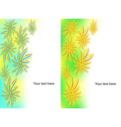 set of banners from flowers and wavy lines vector image vector image