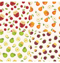 Set of fruit seamless patterns vector image vector image