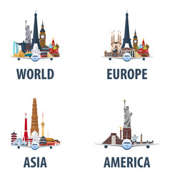Set of travel emblems world europe america vector