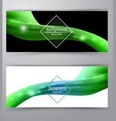 shiny wave abstract background green color vector image