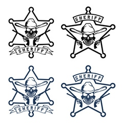 star of sheriff with skull in hat and guns vector image vector image