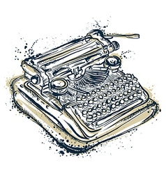 vintage typewriter with ink splashes vector image vector image