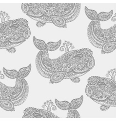 Whale in paisley doodle mehndi style vector image