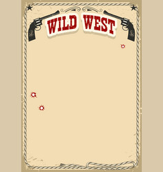 wild west poster background with revolvers and vector image vector image