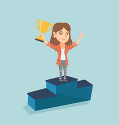 Woman standing on a pedestal with business award vector
