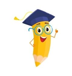 Yellow cartoon pencil with in graduation cap vector image vector image