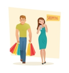 Man and woman with shopping bags vector image