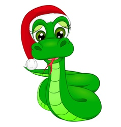 Snake cartoon in winter hat the symbol of 2013 vector