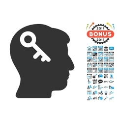 Head key icon with 2017 year bonus pictograms vector