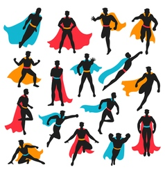 Set of black superhero silhouettes vector