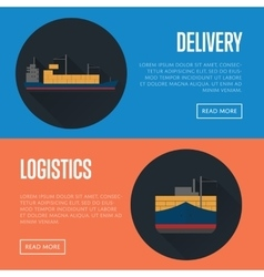 Delivery and logistics banner set with cargo ship vector