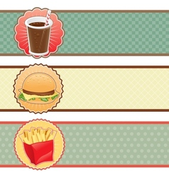 Banners fast food with cola hamburger and fries vector image