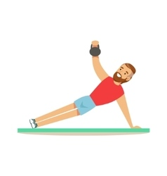 Man doing plank exercise with additional weight vector