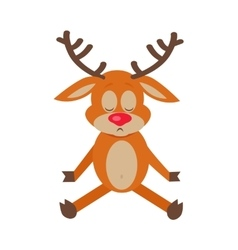 Meditating deer cartoon flat vector