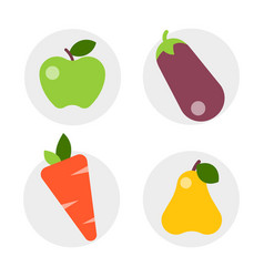 flat icons vegetables of healthy lifestyle diet vector image