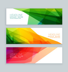 Web banners template set in abstract colorful vector