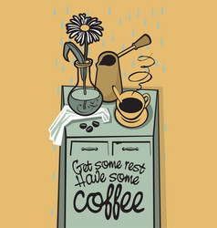 drawing with table coffee a vase at home vector image