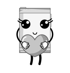 Grayscale smartphone kawaii with romantic heart in vector