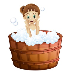 A pretty young lady taking a bath vector