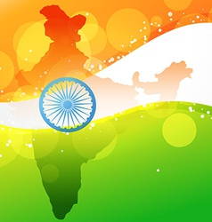 Indian map with flag design vector